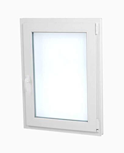 TermProtect | Ventana PVC 60 cm x 70 cm | REGALO Garras de fijación | Oscilobatiente | Aislamiento termico y acustico | Practicable | Resistente sol e humedad | Vidrio Transparente | Apertura Derecha