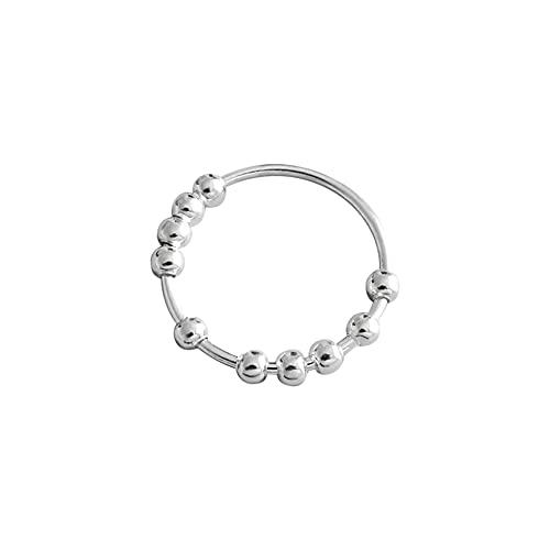 Fidget Anxiety Ring,Spinner Fidget Ring,Bague en argent sterling S990,Bague rotative anti-estres argent,Bague Fidget Spinner,Bague de doigt perles,Cadeau,2pcs,15,4 mm