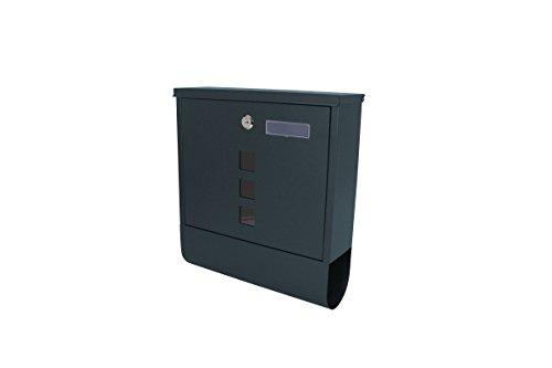 1PLUS Briefkasten Postkasten Wandbriefkasten mit Zeitungsrolle/Zeitungsfach mit schützender Beschichtung (mit Namensschild, Anthrazit)