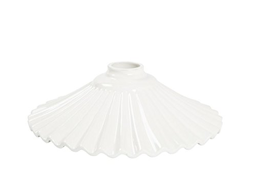 Lampenschirm aus Keramik Plissee weiß 29 cm Ersatzteller für Kronleuchter, Hängelampe