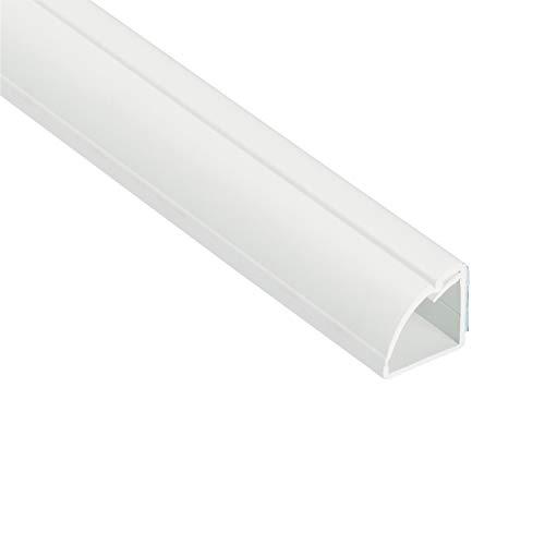 Weiße Kabelkanäle als Viertelstableiste von D-Line | Beliebte Alternative zu herkömmlichen Bodenverkleidungen | 1 x 1 Meter Länge – Weiß
