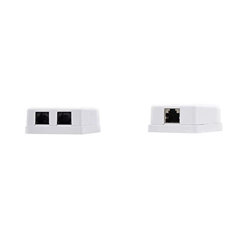 NanoCable 10.21.1502 - Roseta de superficie RJ45 con 2 toma de conexión Cat.6 UTP, blanco + 10.21.1501 - Roseta de superficie RJ45 con 1 toma de conexión Cat.6 UTP, blanco