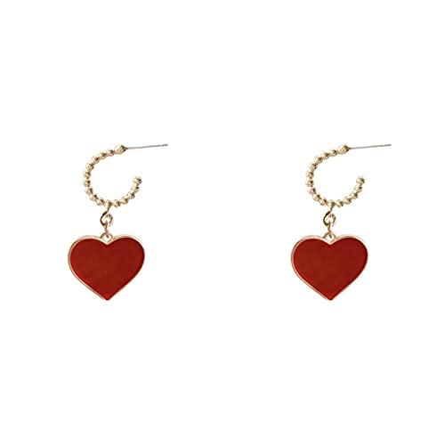 QIN Pendientes de Gota de corazón Rojo para MujerPendientes LargosCoreanos2021 Nueva joyeríaPendientes Simples Elegantes