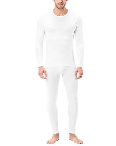LAPASA Men's Lightweight Thermal Underwear Long John Set Fleece Lined Base Layer Top and Bottom (Large, White)