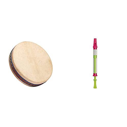 FUZEAU - 70625 - Ocean drum - Tambour ocean avec peau naturelle Ø 25 cm & 2552 Flûte à Coulisse Transparente - ø 2,2 cm - 26 cm (Coulisse Rentrée) - Instrument à Vent pour Enfants