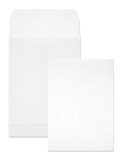 50 x weiße Faltentaschen DIN B5 176× 250 mm 120g Kapazität-Versandtaschen haftklebend ohne Fenster Falten-Umschläge Briefumschläge B5 mit Bodenfalte Brief-Kuverts mit Falten Umschlagtaschen Weiß