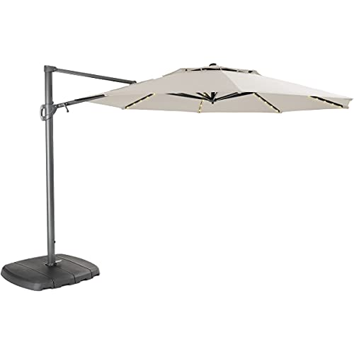 Kettler Parasol 3.3m Free Arm - Grey Frame/Natural Canopy with LED Lights and Wireless Speaker