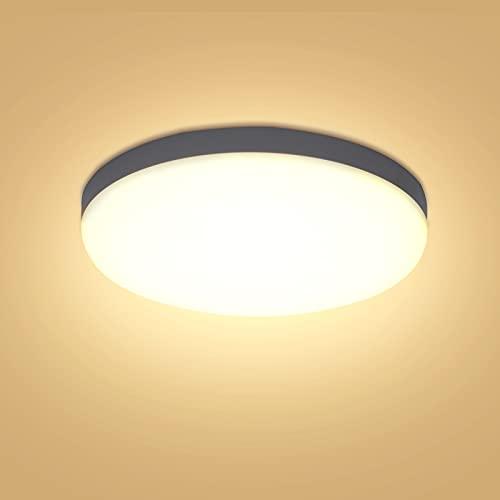 Yafido Lámpara de Techo 30W LED, 2400LM Plafón LED Techo Baño 3000K Luz blanca cálida Lámpara empotrada para techo con material impermeable IP56 para baño, pasillo, balcón, dormitorio Ø25cm