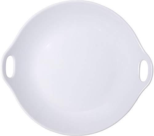 Home Essentials 15166 - Plato redondo con mango abierto, 30,48 cm de longitud, color blanco