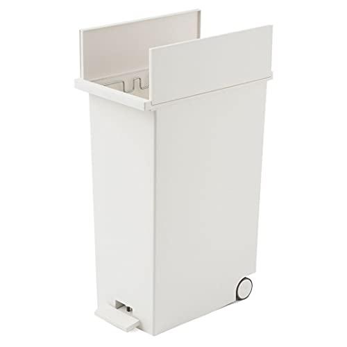 KEYUCA (ケユカ) ダストボックス LL ホワイト (45Lゴミ袋対応 / ペダル式) ゴミ箱 後輪キャスター付き 分別 ふた付き