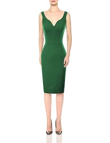 GRACE KARIN Women Sleeveless Deep V Neck Casual Cocktail Pencil Dress Green