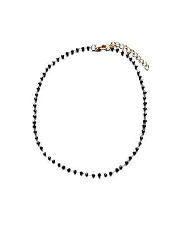 Black Dainty Crystal Chain Max 45% OFF Oakland Mall Gold Bead Necklace Choker