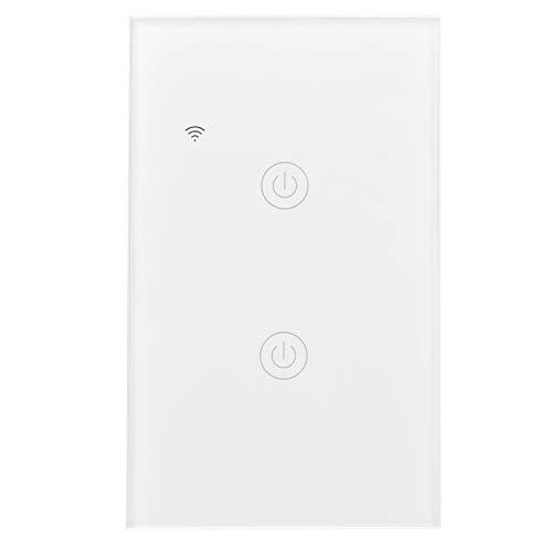 Interruptor inteligente WiFi GT-121-2, interruptor táctil inalámbrico de control remoto de dos canales, interruptor táctil inteligente WiFi ABS + PC para Google Home 100-240VAC