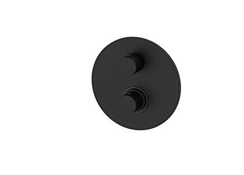 Paffoni LIQ018NO Miscelatore termostatico incasso con Piastra in metallo diametro mm.200 con 2 Uscite serie LIGHT nero opaco