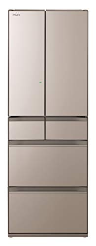 日立 冷蔵庫 475L 6ドア 強化処理ガラスドア 観音開き 本体日本製 幅65cm まるごとチルド R-HW48N XN クリ...
