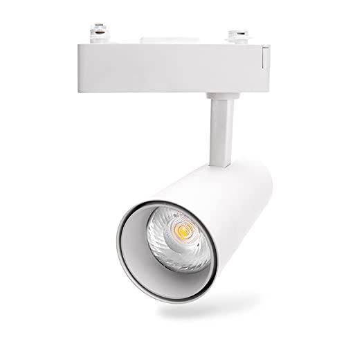 Aigostar - Foco de carril LED Trifásico Blanco, 10W, 4000K luz neutra, 800lm, ángulo de haz de 24 °. Focos giratorios para interiores. Uso profesional: tiendas, galerías etc. o vivienda particular.