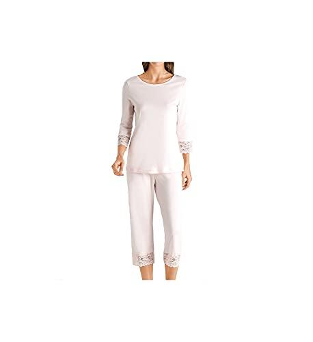 Hanro Damen Moments Nw Pyjama 3/4 Arm Zweiteiliger Schlafanzug, Rosa (Crystal Pink 1334), 50 (Herstellergröße: XL)
