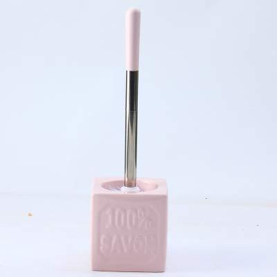 LWSJP Manejar vajilla de cerámica de Limpieza en la Base del Cepillo Stainle Acero Azul Rosa Escobilla de baño Kit del Cepillo de baño Accesorio Conjunto (Color : Rosado, Size : Gratis)