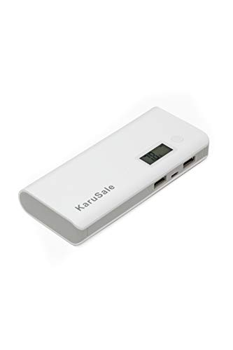 50000mAh Dual USB External Power Bank Battery Pack Portable LCD LED Universal Charger Compatible with iphone, Samsung Galaxy and for All Other Cell Phone Models White and Gray