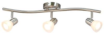 XiNBEi Lighting Track Lighting, 3 Light Track Light with Glass, Modern S-Shaped Track Light Bar with Bulb Brushed Nickel Finish XB-TR1223-3