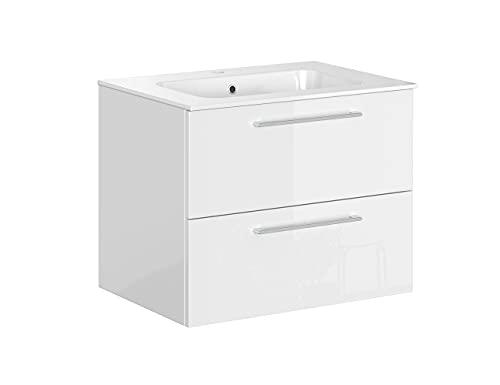Iconico Home Essential Mobile Bagno sospeso con 2 cassetti e lavabo Integrato, Truciolato, Bianco Lucido, 75,5x49,5x59 cm