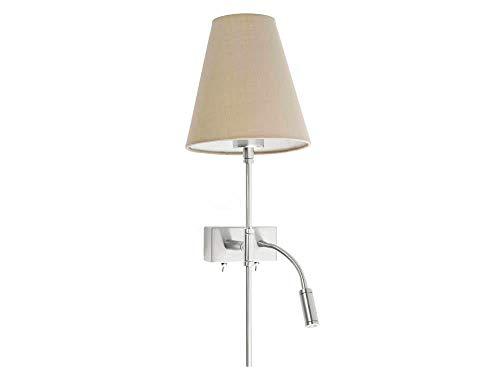 Faro Barcelona 29991 SABANA Lampe applique beige avec lecteur LED gauche