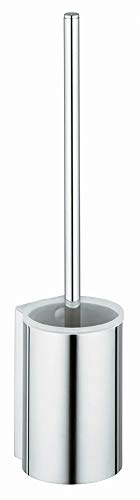 KEUCO Toilettenbürsten-Garnitur aus Metall chrom und Kunststoff weiß, Wandmontage, WC-Bürste mit Halterung für Bad und Gäste-WC, Klobürste, Plan