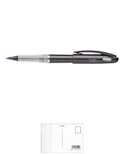 ぺんてる トラディオ プラマン 青 TRJ50-C 3個セット + 画材屋ドットコム ポストカードA