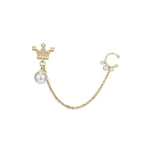 Crown Pearl Pendiente De Clip Con Forma De Oreja Única Pendientes Minoritarios Integrados