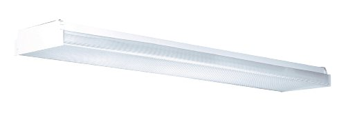 Lighting by AFX LW432R8 Low Profile 4-32 Watt T8 Wrap Light Fixture, White with Clear Prismatic Lens