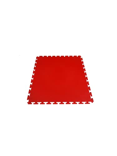 Placa de PVC | Rojo | 50 x 50 x 0,7 cm | Azulejos para garaje, borde de piscina, gimnasio, antideslizante, eficaz contra golpes y líquidos | fácil de limpiar (1)
