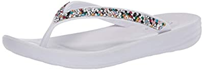 Skechers womens Bungalow - Daily Shine - Chunky Rhinestone Jelly Thong Flip Flop White Multi; 7