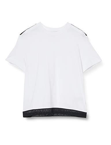 Calvin Klein Jeans Damen Mesh Tape Modern Straight Tee Hemd, White, XS