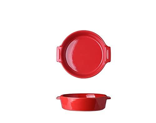 Plato plato plato hondo plato de sopa plato binaural para el hogar plato de ensalada de cerámica bandeja para hornear plato lindo plato binaural para horno - ( rojo )