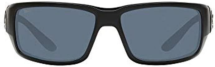 Costa Del Mar Men's Fantail 580P Polarized Rectangular Sunglasses, Blackout/Grey Polarized-580P, 59 mm
