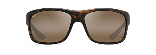 Maui Jim Men's Southern Cross Wrap Sunglasses, Matte Tortoise Rubber/HCL Bronze Polarized, Large