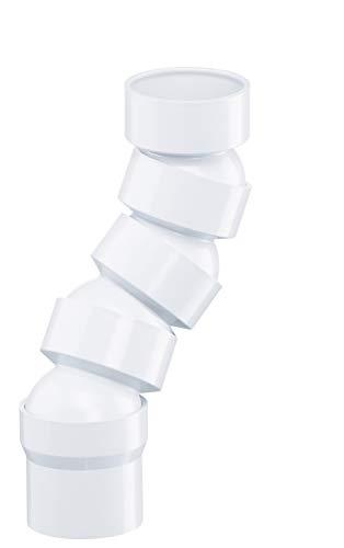 INEFA Flexibler Rohrbogen Weiß DN 50 67-90°, 4 Bogenstücke, Kunststoff, Winkel- Set, Fallrohr, Dachrinne- Zubehör Gartenhaus