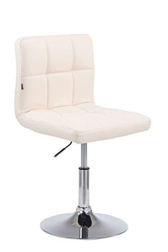 CLP Drehstuhl Palma V2 mit hochwertiger Polsterung und Kunstlederbezug I Höhenverstellbarer Esszimmerstuhl mit Metallgestell in Chrom-Optik, Farbe:Creme