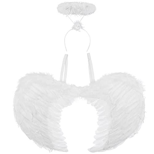 Redstar Fancy Dress - Ailes et auréole d'ange - Costume de soirée/Halloween - Blanc