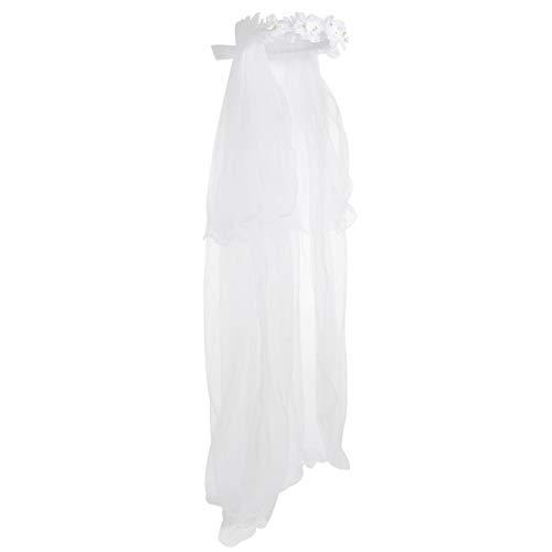 FRCOLOR Kinder Hochzeitsschleier Kurze Weiße Spitze Schleier mit Blumengirlande Tüll Gaze Schleier Braut Kathedrale Schleier Mantilla Kopfbedeckung für Braut Verkleiden