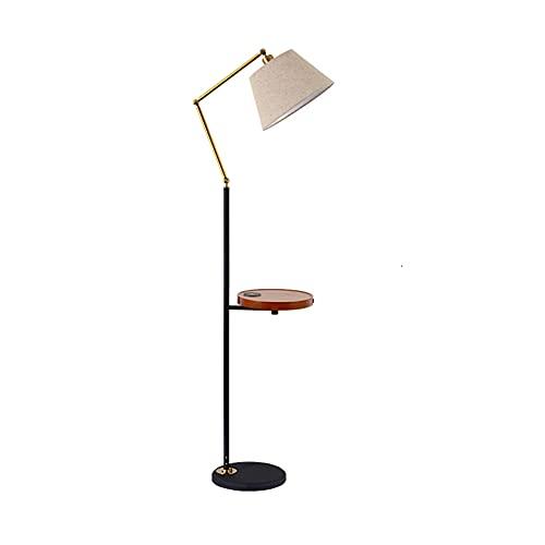 Lámpara De Pie E27 con Puertos USB útiles, Mesa De Bandeja Redonda, Lámpara De Pie Moderna De Carga Remota E Inalámbrica para Dormitorio, Sala De Estar U Oficina(Color:Style-1)