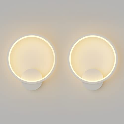 Klighten 2 Pezzi Lampada da Parete Interno Moderno LED 12W Applique da Parete Tondo, Lampada Muro per Camera da Letto, Soggiorno Corridoio, Scale, 780 Lumen, Bianco Caldo 2900K-3200K, Bianca