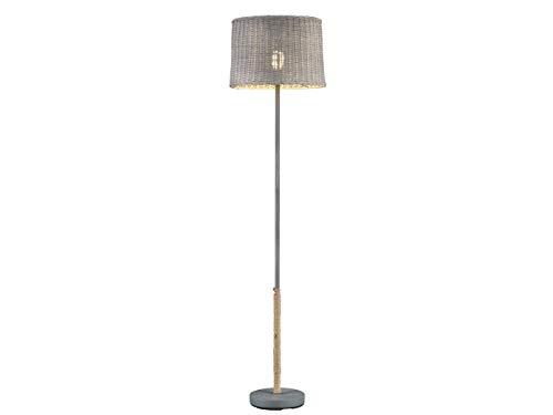Große Rattanschirm LED Stehleuchte mit Seil und Korbgeflecht im Landhausstil, 39 cm rund
