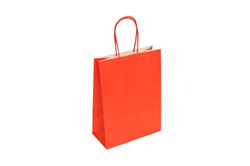 Carte Dozio - Shopper in carta color Rosso, maniglia ritorta, f.to cm 18+8x24, cf 25 pz