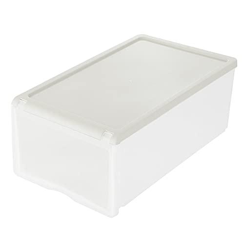 YIJIAHUI Caja de zapatos de plástico transparente para el hogar, caja de almacenamiento apilable, plegable, zapatero para hombre (tamaño: 33 x 21 x 13,5 cm, color: gris)