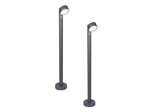 Draaibare LED buitenverlichting in set van 2 voor muur en outdoor met ronde lichtkop van aluminium in antraciet, IP54
