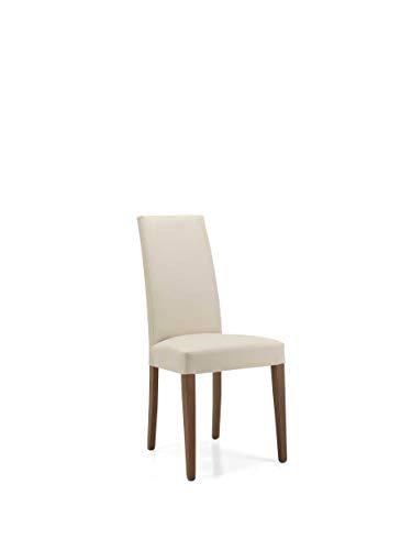 Sedia soggiorno sala da pranzo in ecopelle imbottita con gambe verniciate DENVER SET DA 2 PEZZI (Beige...
