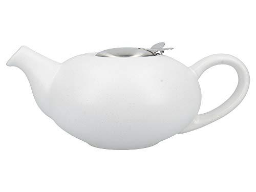 London Pottery Théière avec infuseur pour thé en Vrac en grès Blanc moucheté 4 Tasses (1 Litre)