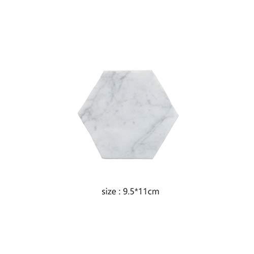 OGUAN Estilo nórdico Posavasos de mármol Natural Hogar Placemats Hexagonales Placas de Plato Mats de Aislamiento Cafetera Taza de café Regalo (Color : Grey Hexagon)