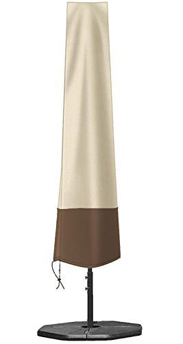 zizwe Sonnenschirm Schutzhülle Abdeckung, Wetterfeste, UV-Anti, Winddicht und Schneesicher, Outdoor für Ampelschirm Beige 190 * 26/56 cm